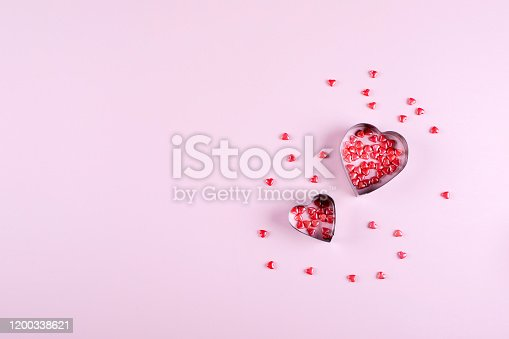 157527860 istock photo Heart Candy background. Valentine's Day Concept. Flat lay, top view, copy space 1200338621