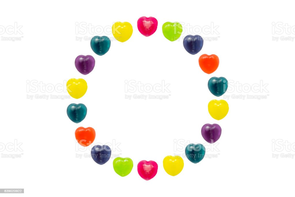 Heart Candy Set in Circle Shape for Valentine stock photo