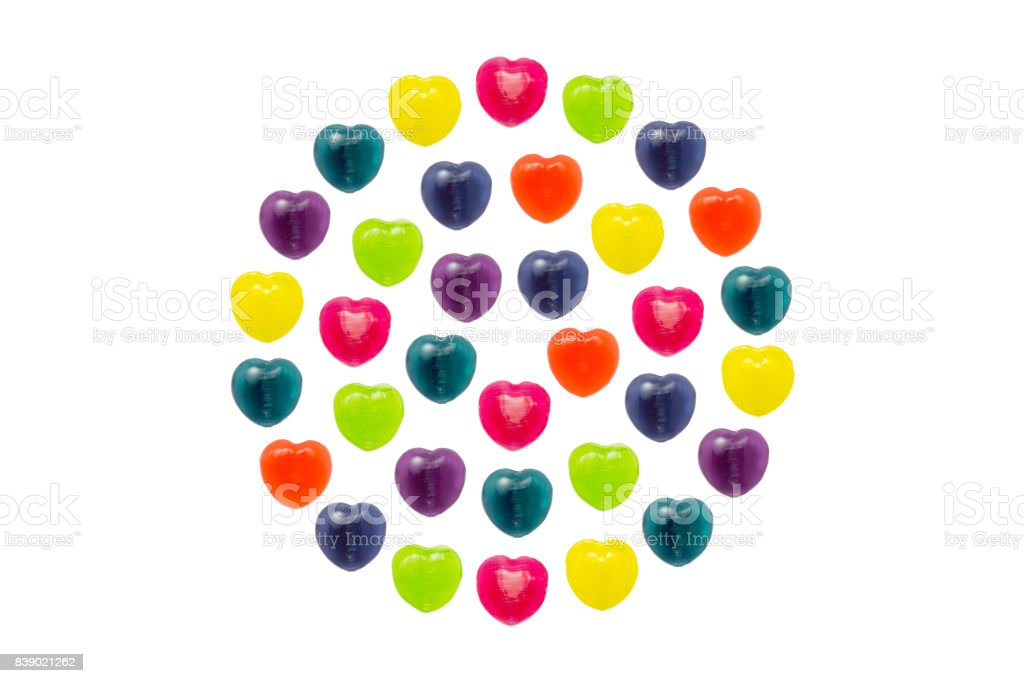 Heart Candy Set in Full Circle Shape for Valentine stock photo