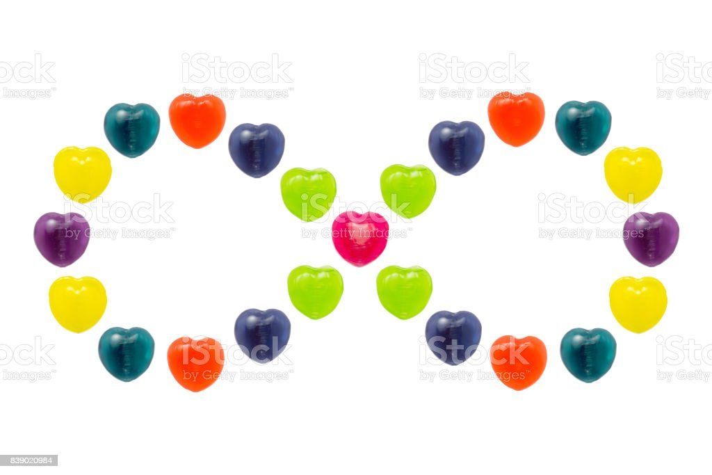 Heart Candy Set in Infinity Shape for Valentine stock photo