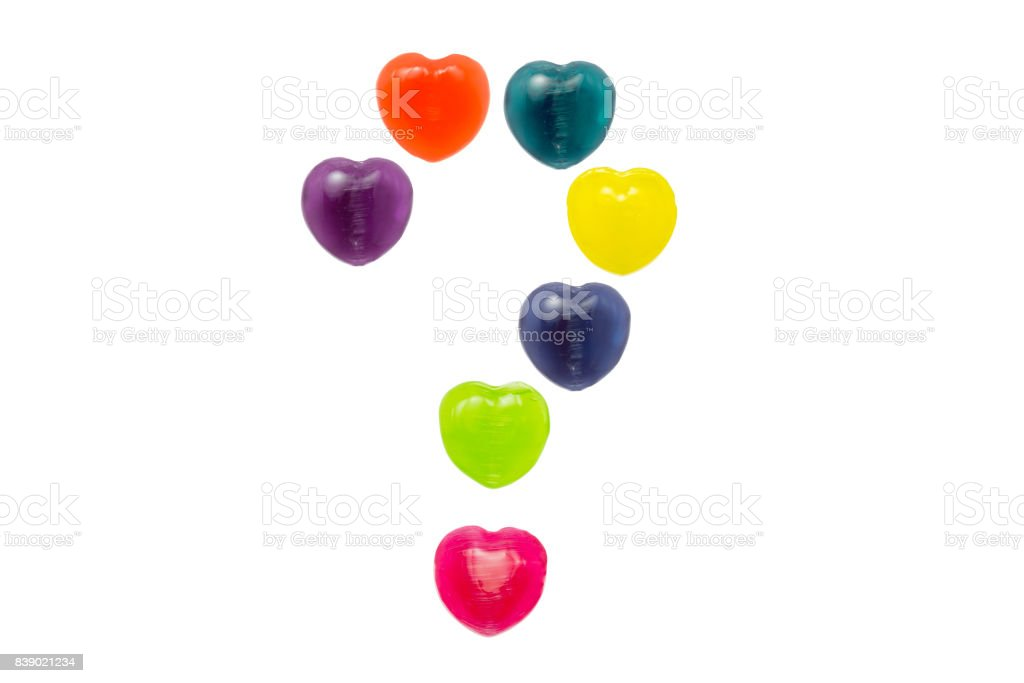 Heart Candy Set in Question Mark Shape for Valentine stock photo