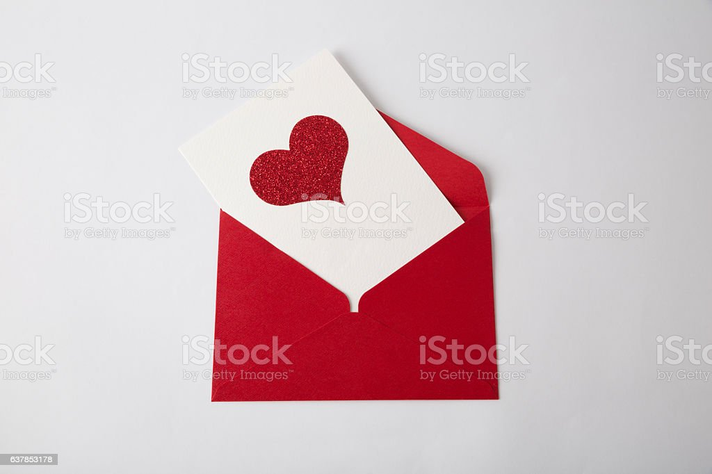 Heart cards on the white background. Valentines Day card. Isolated. stock photo