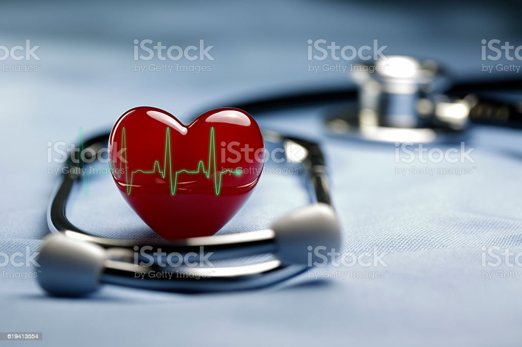 Heart Care and ECG stock photo