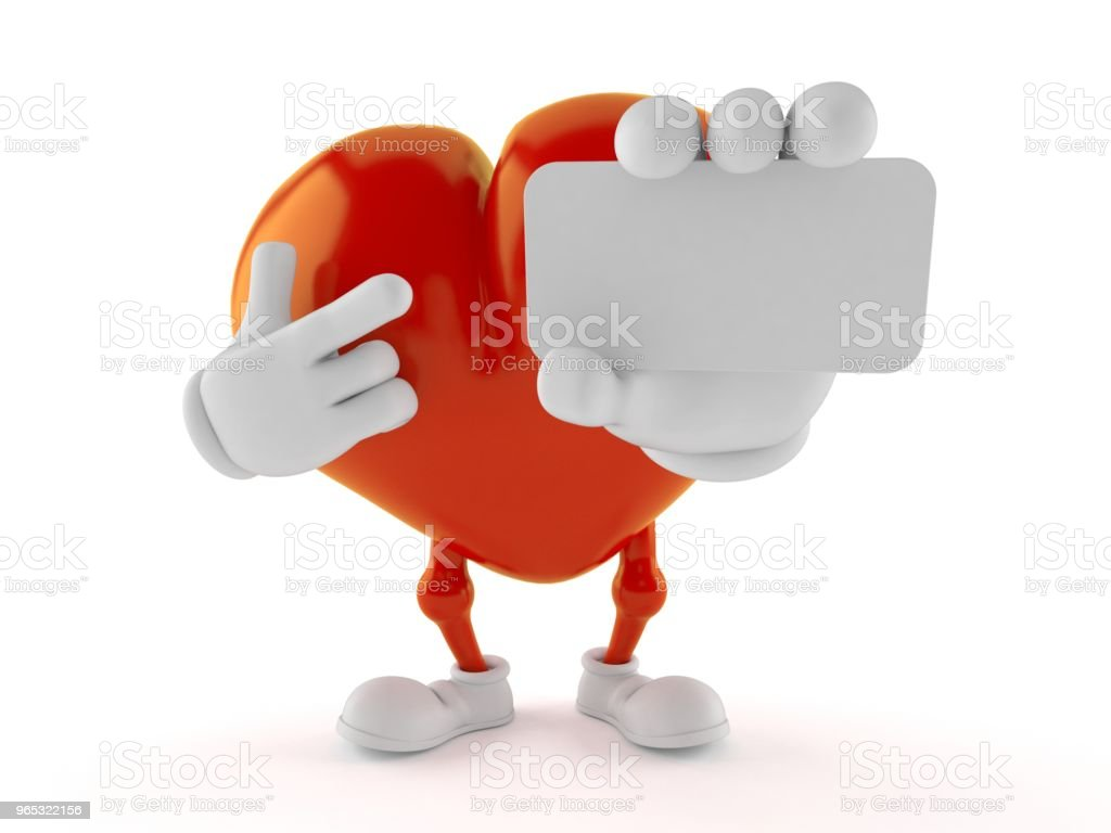 Heart character holding blank business card royalty-free stock photo