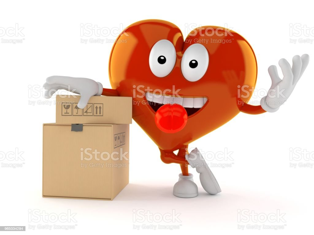 Heart character with stack of boxes royalty-free stock photo