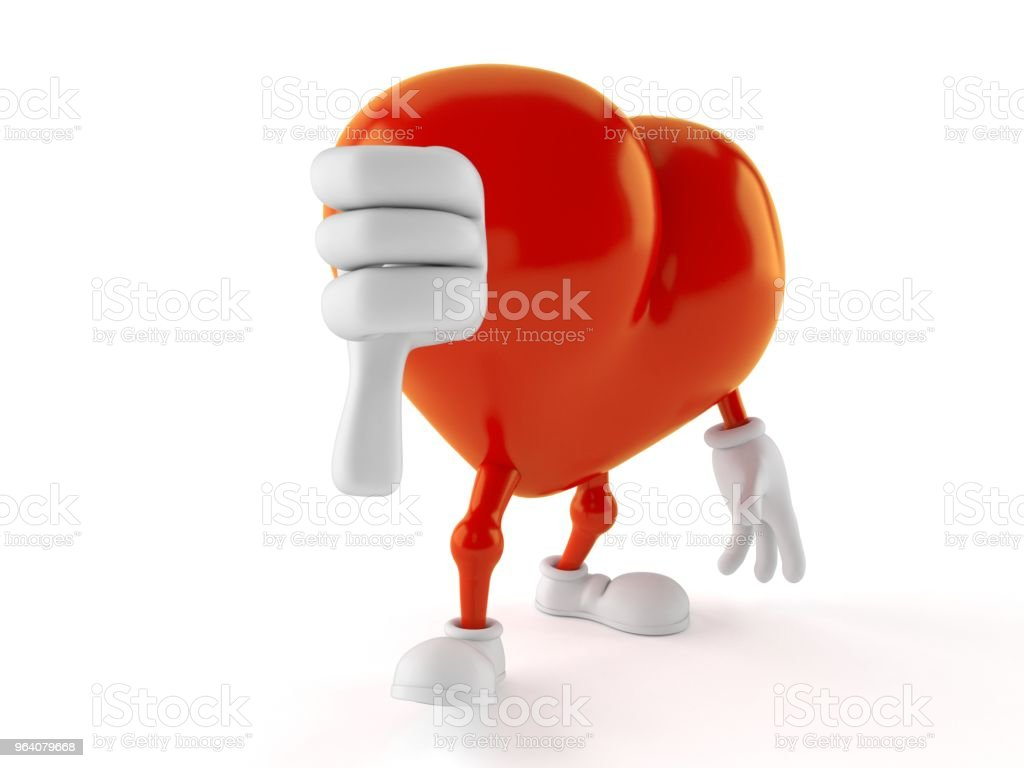 Heart character with thumbs down gesture - Royalty-free Cartoon Stock Photo