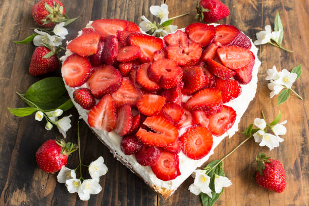 Heart Cheesecake with Strawberries stock photo