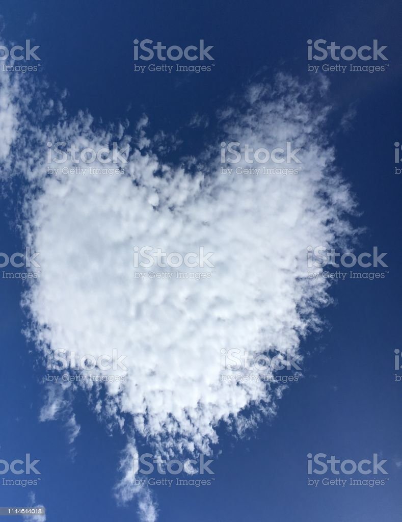 White heart shaped cloud