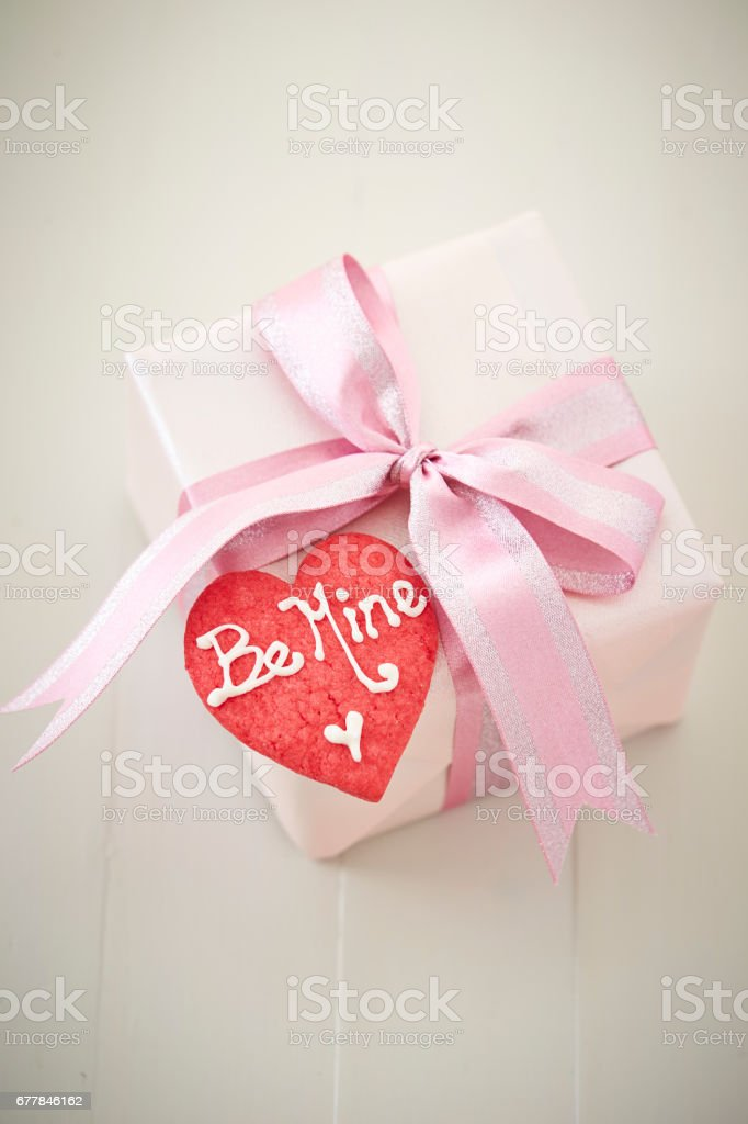 Heart cookie with gift box royalty-free stock photo