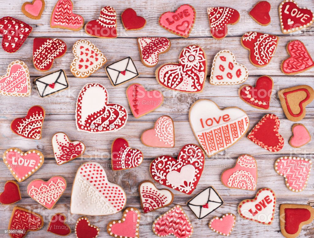 Heart cookies on white rustic wooden background royalty-free stock photo
