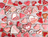Heart cookies on white rustic wooden background. The cookies are homemade made by me and are unique and can not be found anywhere.