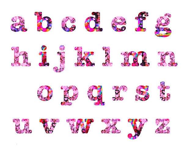 Heart design lower case letters alphabet stock photo