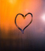 Heart Drawn by Hand on the Window, Valentines Background