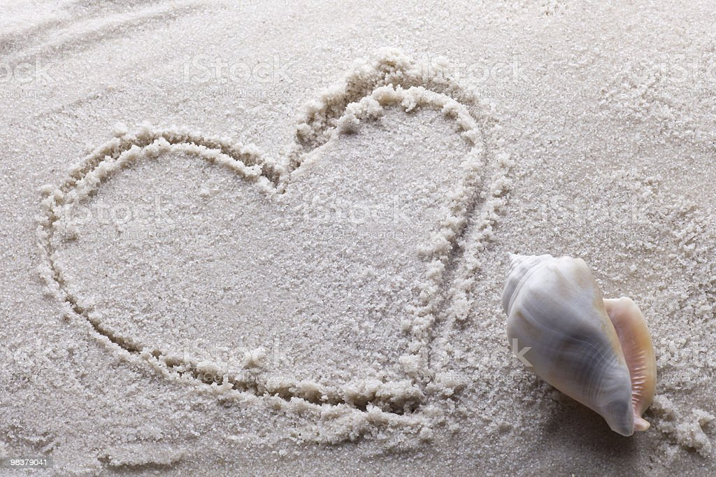 heart drawn in sand royalty-free stock photo