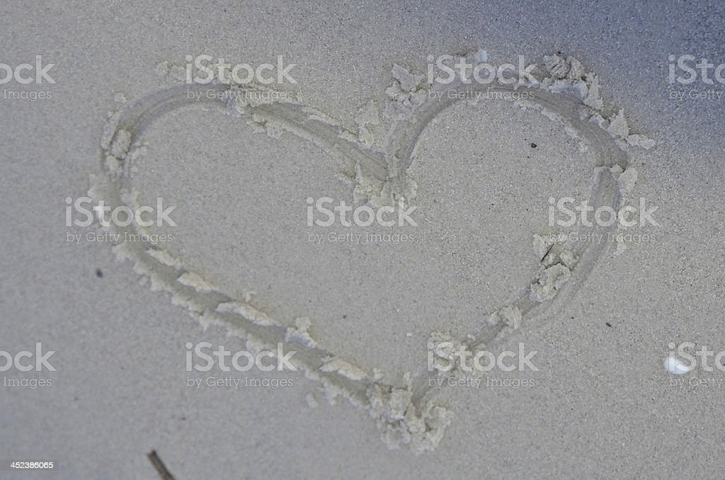 Heart Drawn in the Sand royalty-free stock photo