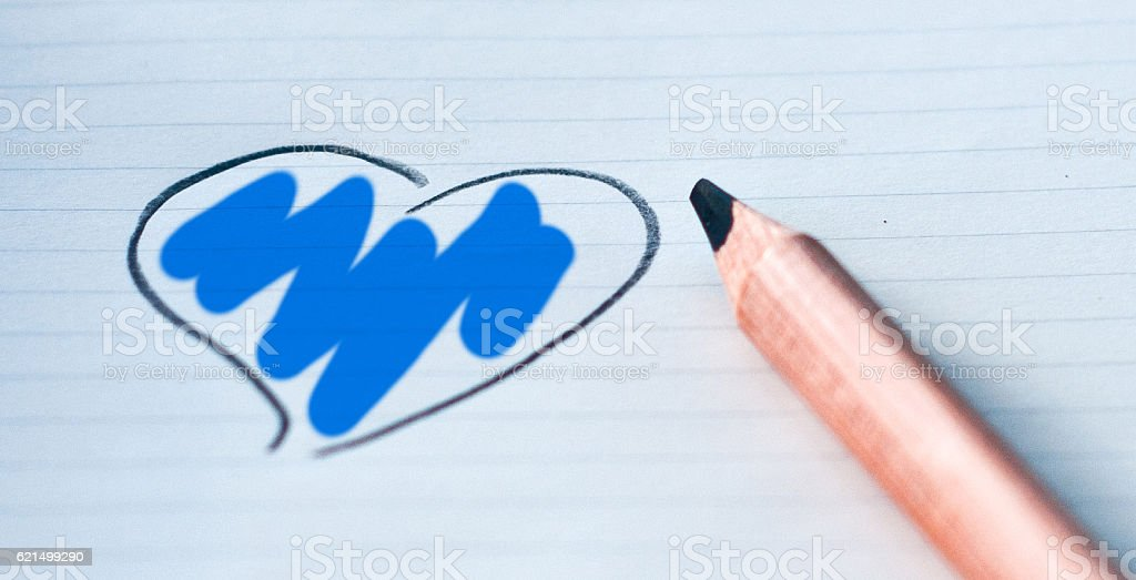 heart drawn in with your color: blue Lizenzfreies stock-foto