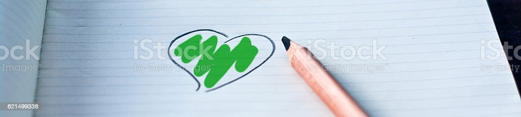 heart drawn in with your color: green Lizenzfreies stock-foto