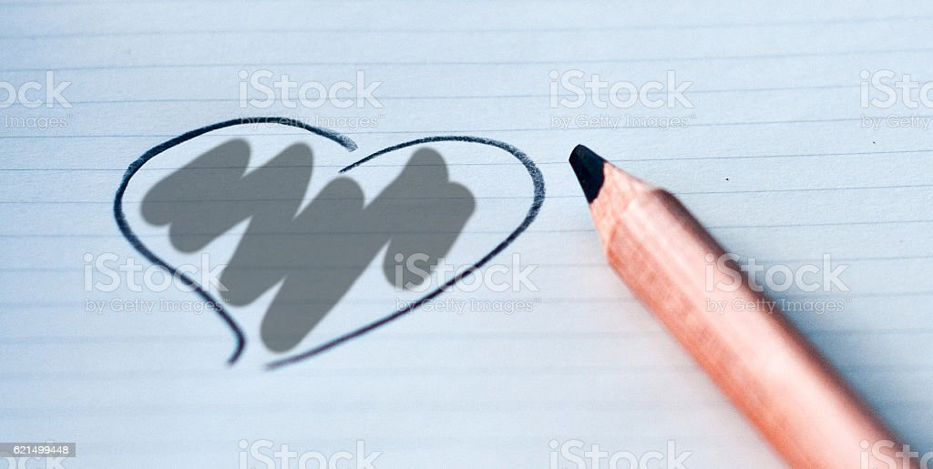 heart drawn in with your color: grey foto stock royalty-free