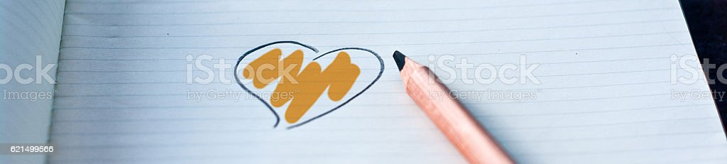 heart drawn in with your color: orange photo libre de droits
