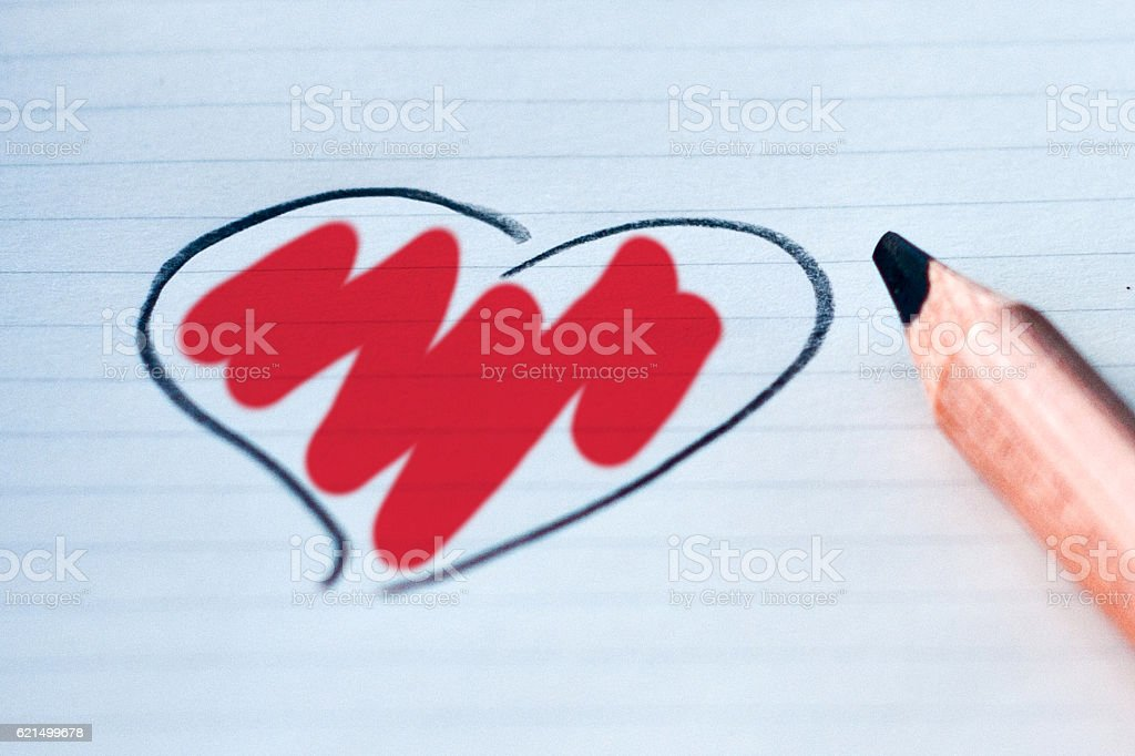 heart drawn in with your color: red photo libre de droits