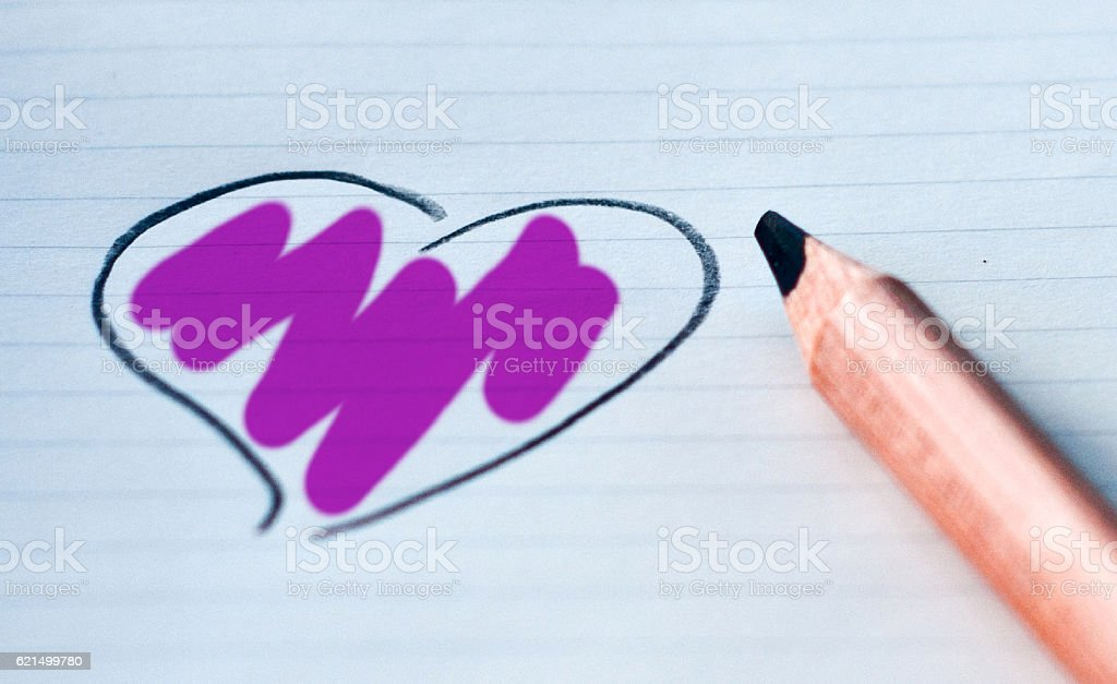 heart drawn in with your color: violet foto stock royalty-free