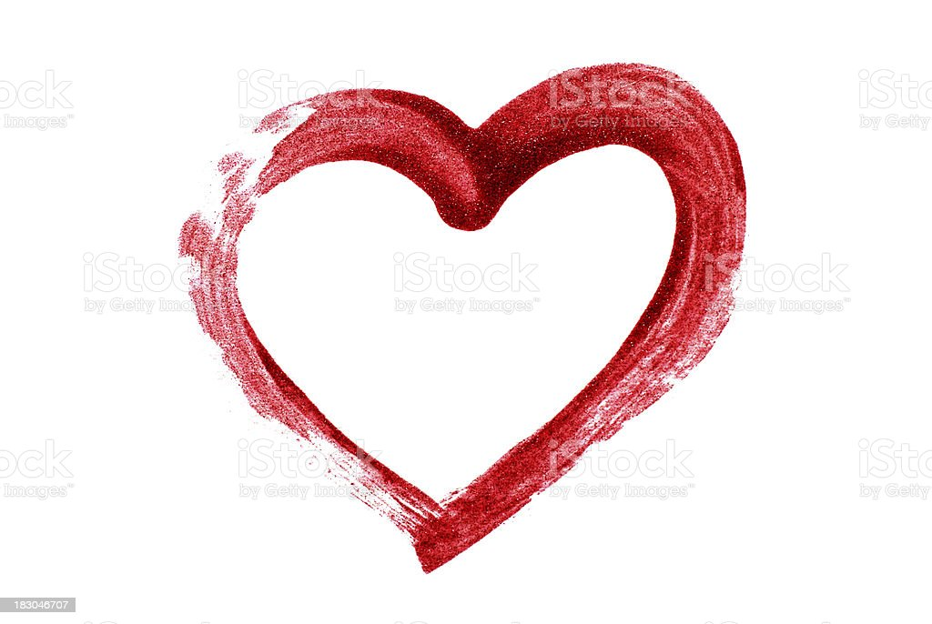 Heart drawn using blood as finger paint stock photo