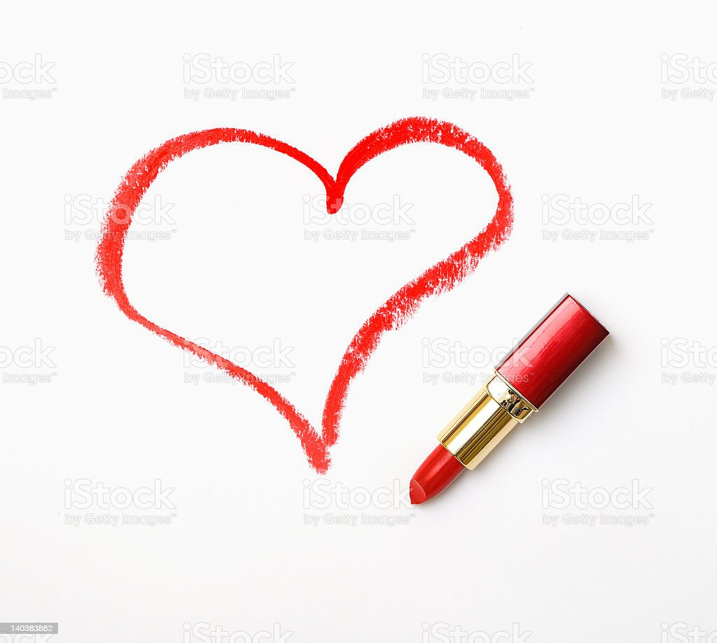 A Heart Drawn With Red Lipstick Meaning I Love You Stock Photo