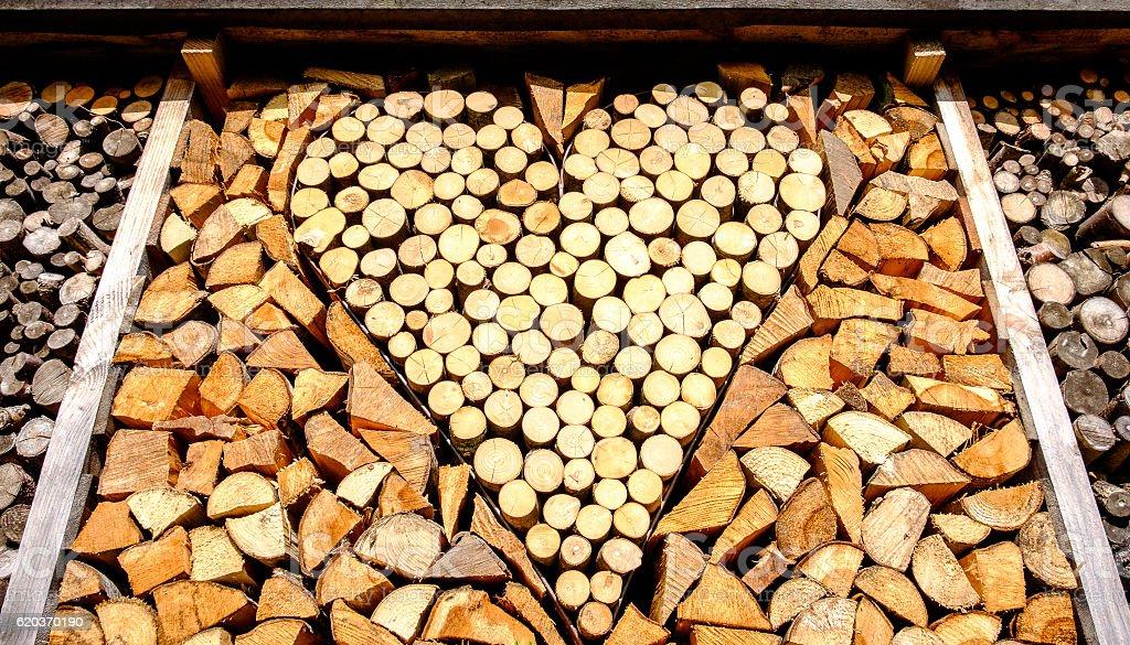 heart - firewood zbiór zdjęć royalty-free