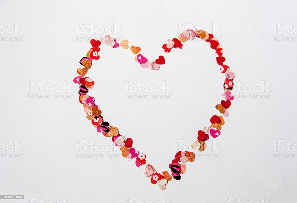 Heart Frame Of Small Love Hearts On White Background Stock Photo ...