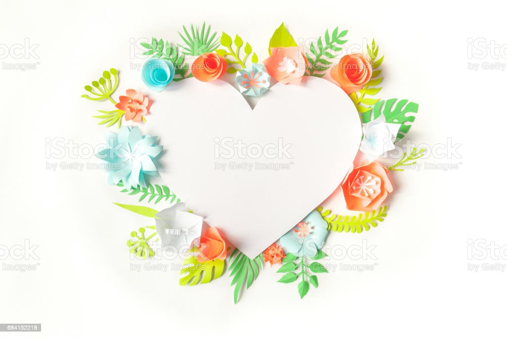 heart frame with color paper flower foto stock royalty-free