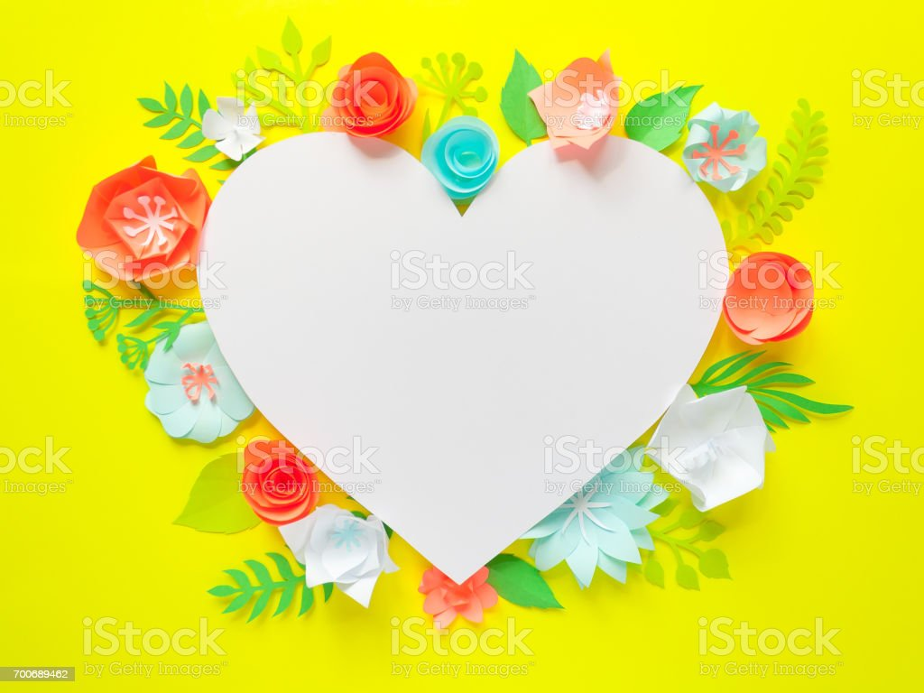 Heart Frame With Color Paper Flower Stock Photo More Pictures Of