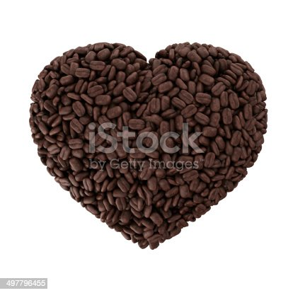 istock Heart from coffee beans isolated on a white background 497796455