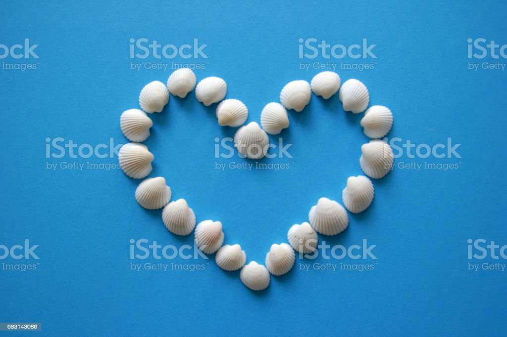 A heart from different seashells on the blue background for Valentine's Day. 免版稅 stock photo