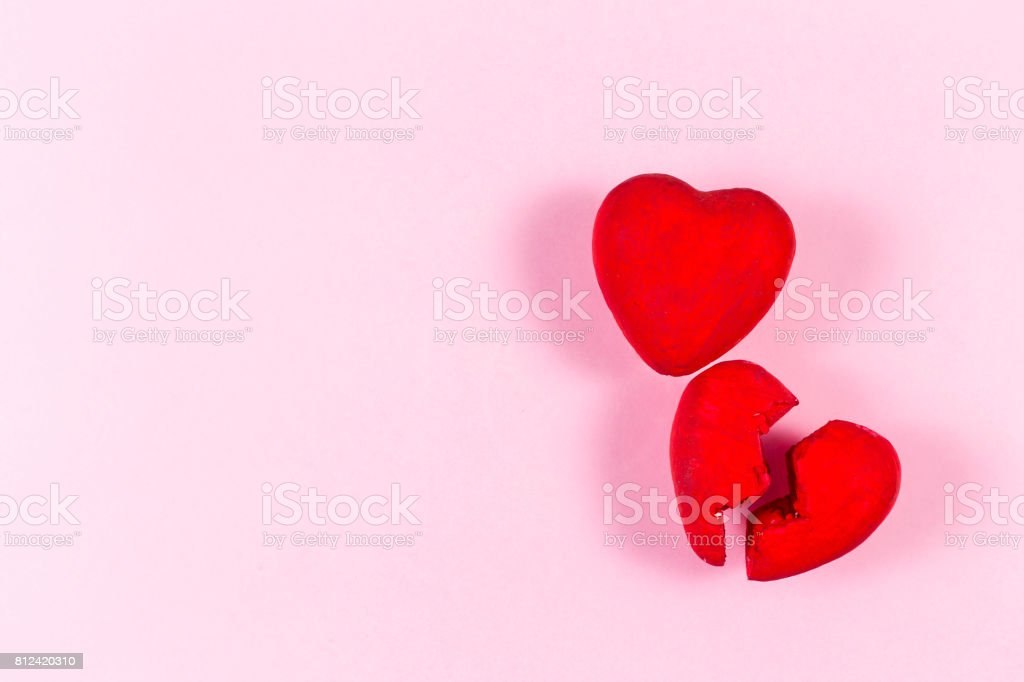 Heart from hand made on the pink background.Concept of love. stock photo