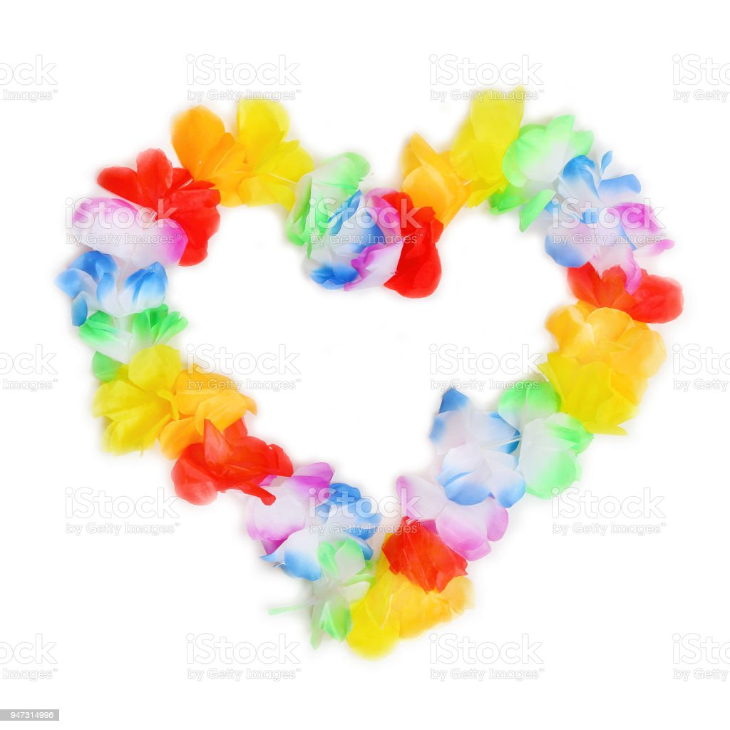 Heart from hawaiian flowers necklace isolated on white background heart from hawaiian flowers necklace isolated on white background royalty free stock photo izmirmasajfo Image collections