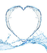 Heart from water splash isolated on white background