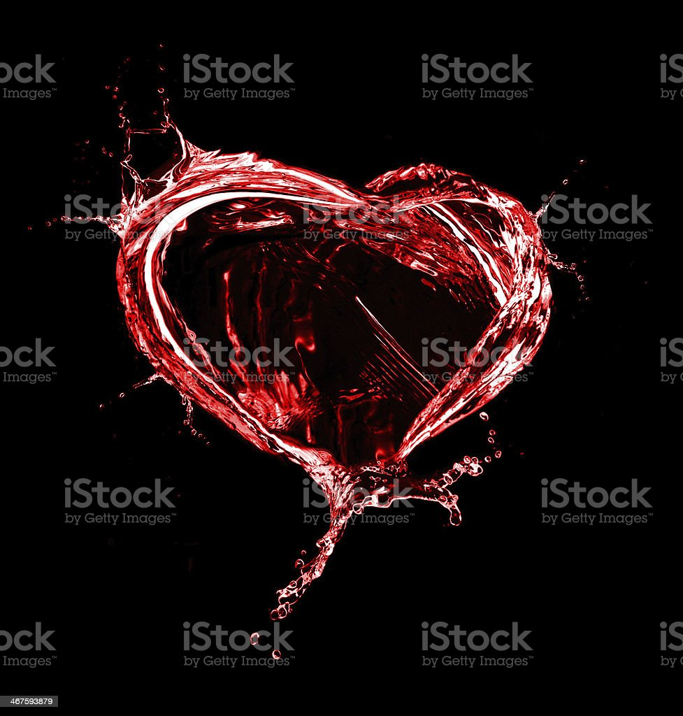 Heart from water splash with bubbles stock photo