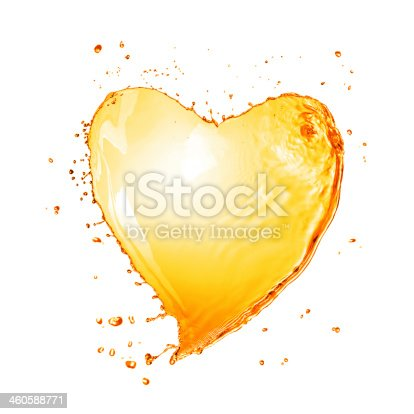 858282944istockphoto Heart from yellow water splash with bubbles isolated on white 460588771