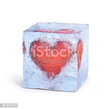 istock Heart frozen inside ice cube 3d rendering 867833324