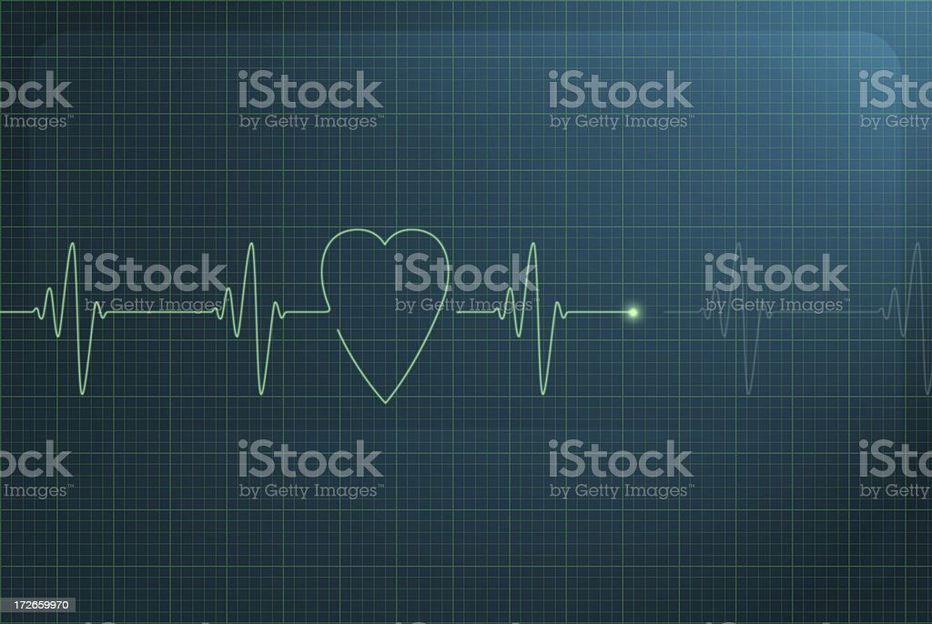 Heart graph monitor stock photo
