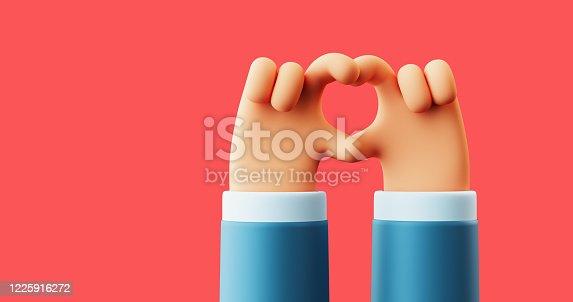 3d illustration of hands showing sign of heart