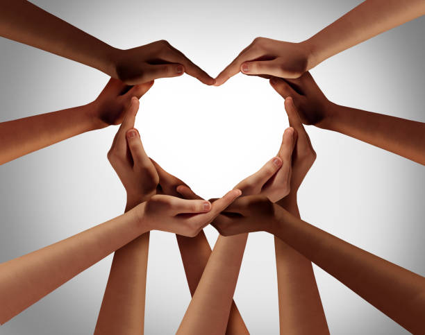 Heart Hands Heart hands as a group of diverse people hands connected together shaped as a love symbol expressing the feeling of being happy and togetherness. hand stock pictures, royalty-free photos & images