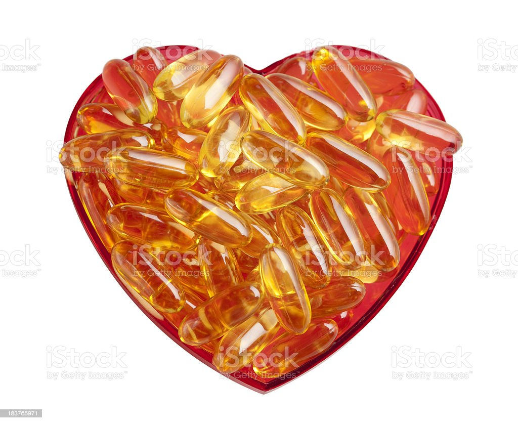 Heart health fish oil supplements royalty-free stock photo