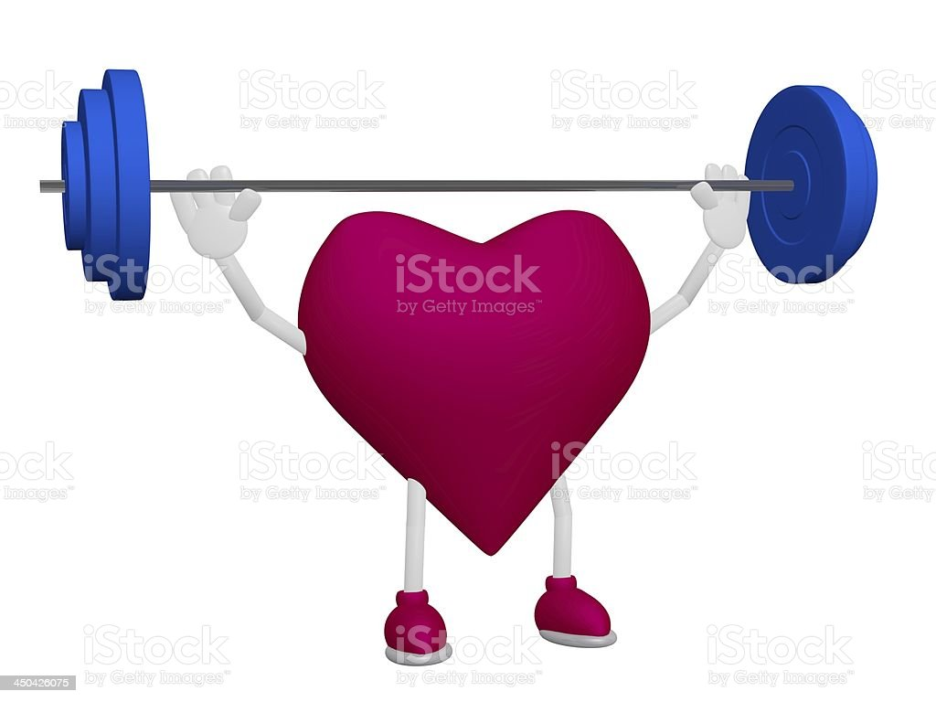 Heart health training weight sport concept on white background royalty-free stock photo