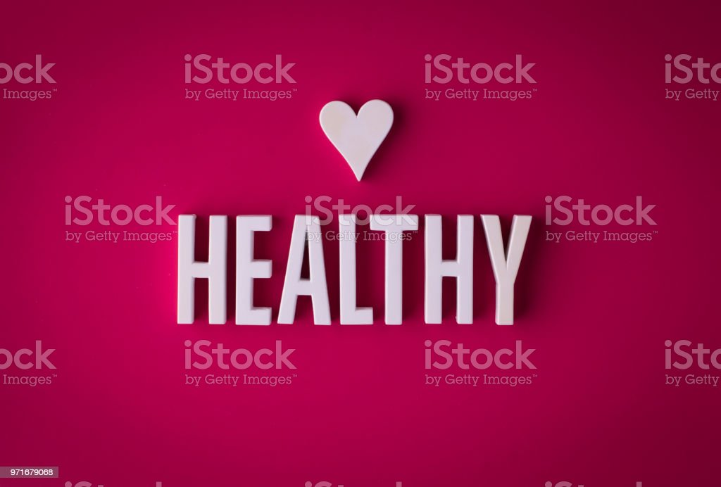 Heart healthy lettering sign stock photo