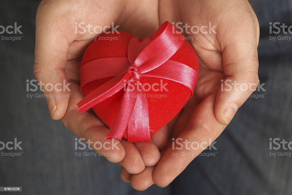 Heart in a gift royalty-free stock photo