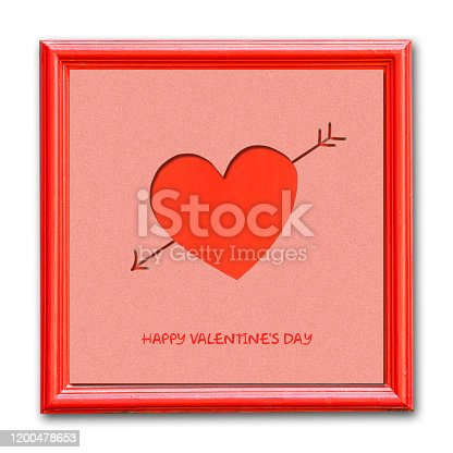istock Heart in a red frame. Isolated. Happy Valentine's day background. 1200478653