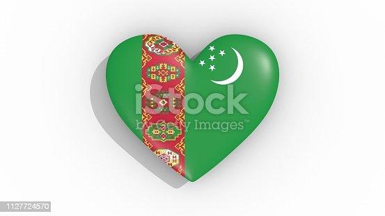 istock Heart in colors flag of Turkmenistan 1127724570