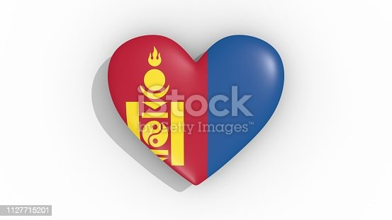 istock Heart in colors of flag of Mongolia 1127715201