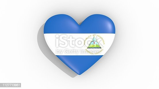 istock Heart in colors of flag of Nicaragua 1127713951